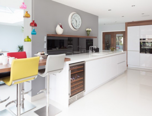 White Contempory Kitchen with Texture and Colour